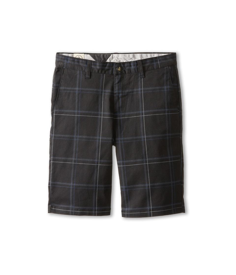 Volcom Kids - Frickin Plaid Stretch Short (Big Kids) (Black) Boy's Shorts