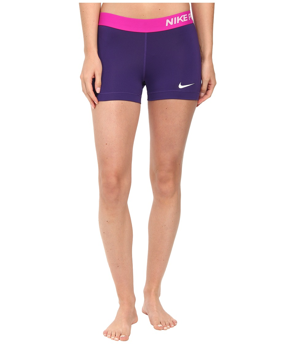 Nike - Pro Three-Inch Short (Court Purple/Fuchsia Flash/White) Women's Shorts