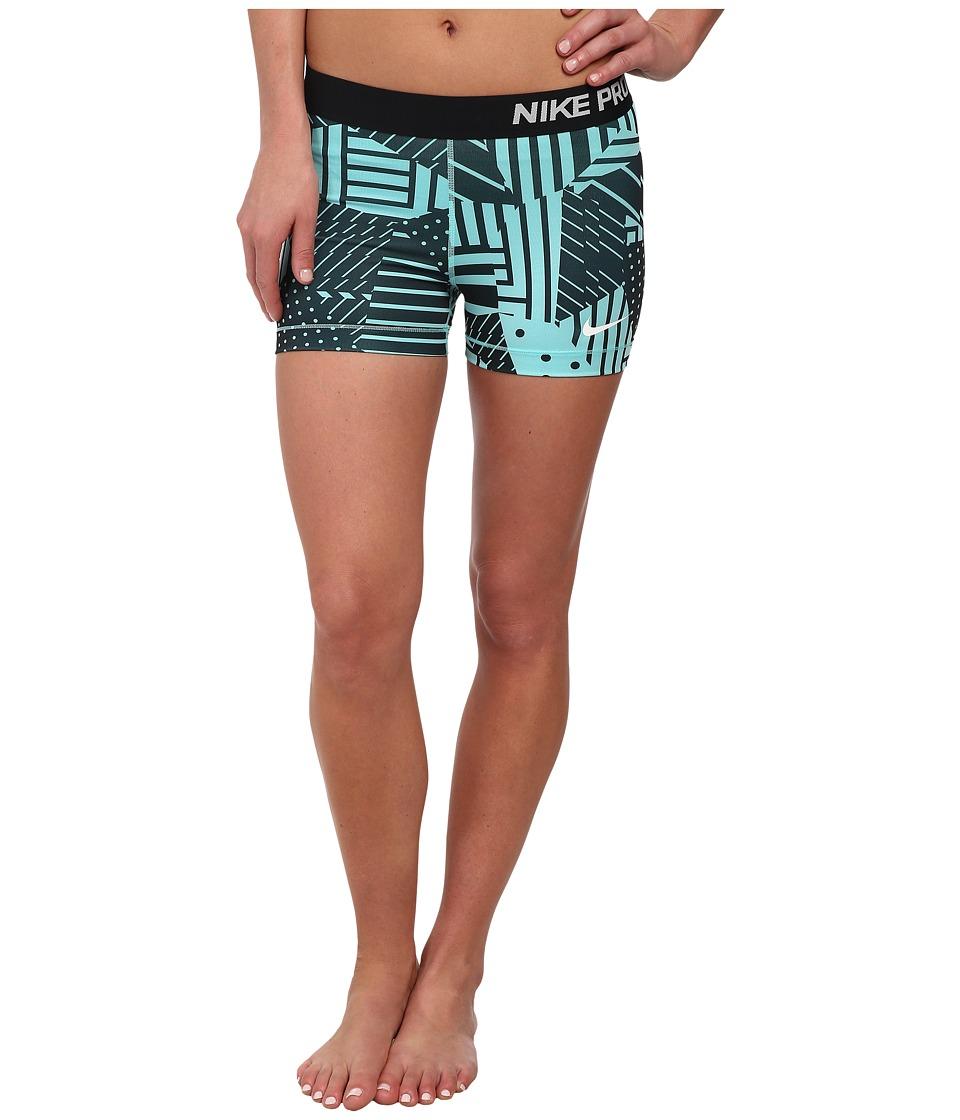 Nike - Pro Patch Work 3 Short (Light Aqua/Black/White) Women's Shorts