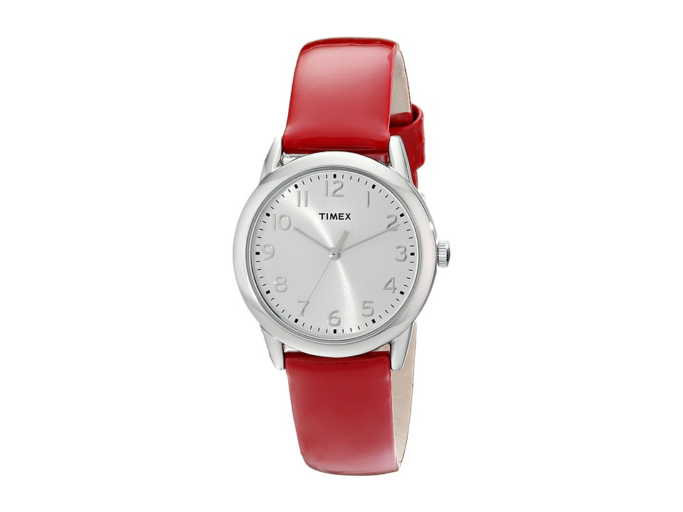 Timex - Dress Silver/White Dial/Red Patent Leather Strap Watch (Red/Silver) Watches