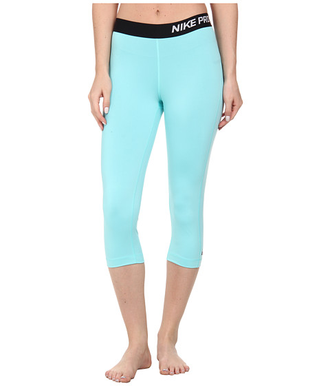 Nike - Pro Capri (Light Aqua/Black) Women's Capri