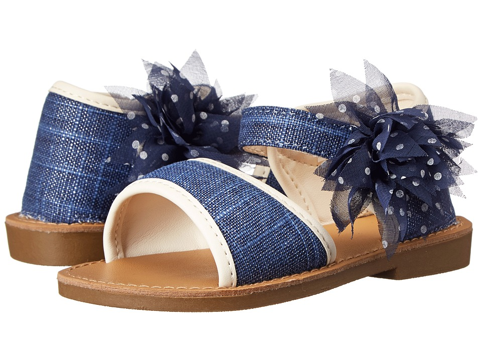 Baby Deer - Linen Walking Sole Sandal (Infant/Toddler) (Navy) Girls Shoes
