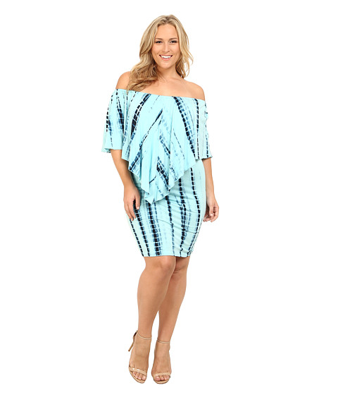 Culture Phit - Plus Size Nalah Dress (Baby Blue Tye-Dye) Women