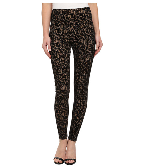 Lysse - Flocked Lace Ponte (Praline/Black) Women's Casual Pants