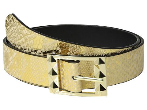 Betsey Johnson - Reversible Metallic Snake To Smooth (Gold/Black) Women's Belts