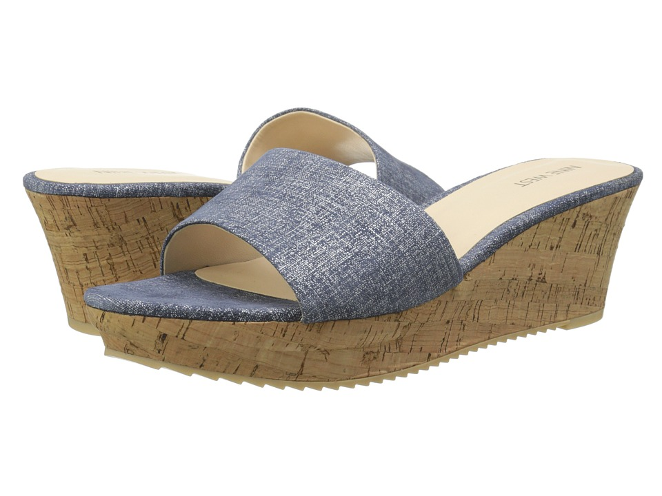 Nine West - Confetty (Medium Blue Leather) Women's Wedge Shoes