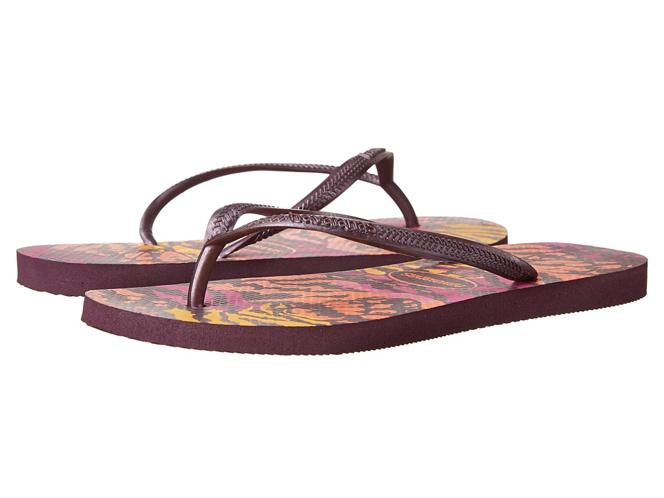 Havaianas - Slim Animals Flip Flops (Aubergine) Women's Sandals