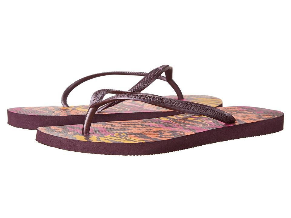 Havaianas - Slim Animals Flip Flops (Aubergine) Women