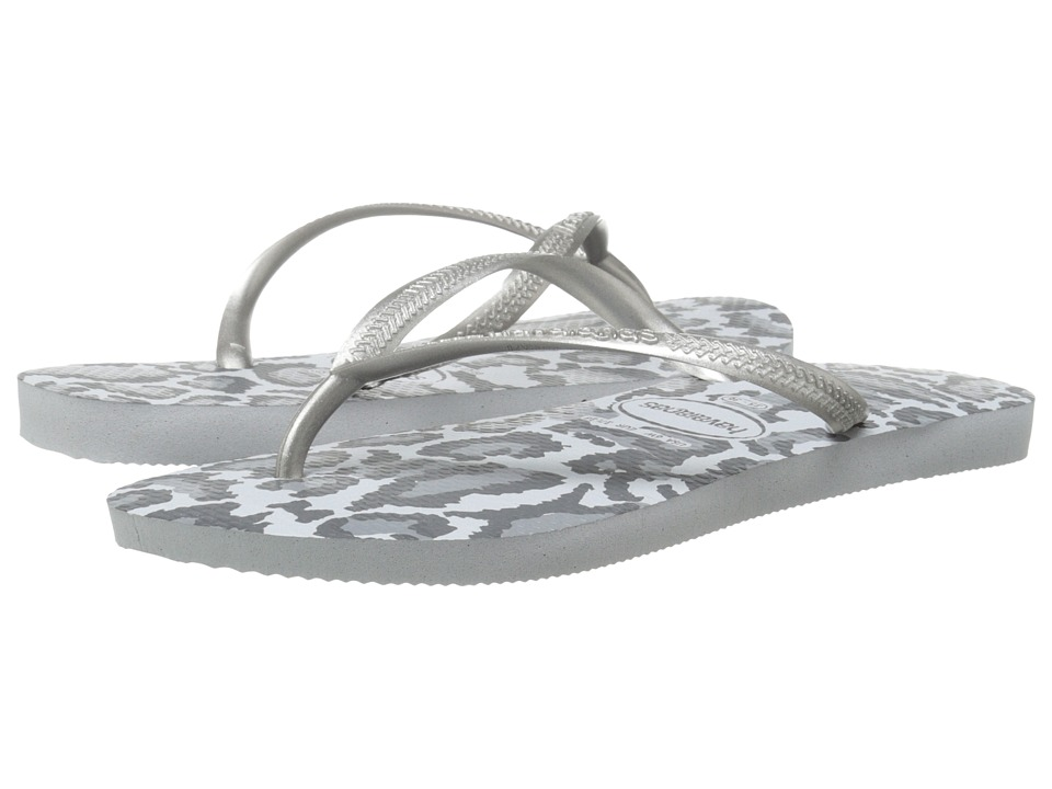 Havaianas Slim Animals Flip Flops (Ice Grey) Women