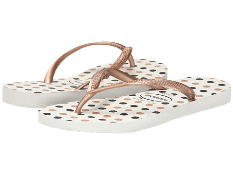 Havaianas - Slim Fresh Flip Flops (White/Rose Gold) Women's Sandals