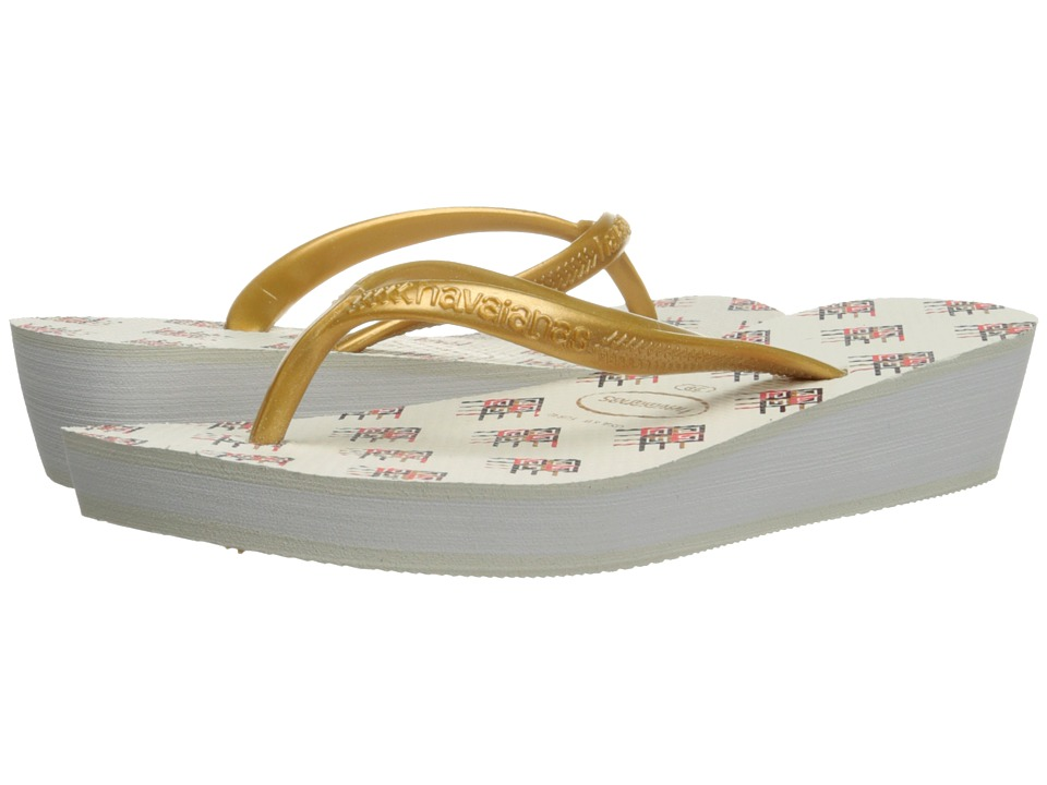 Havaianas - High Light II Flip Flops (White/Golden/Black) Women's Sandals