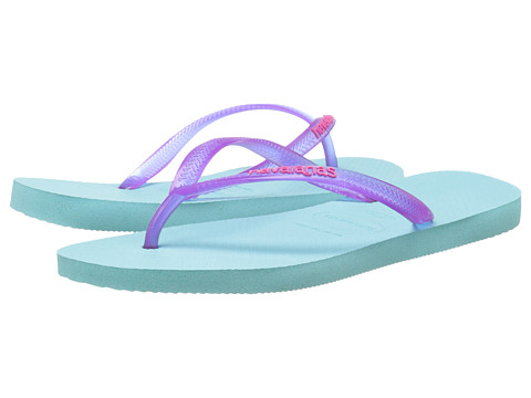 Havaianas - Slim Logo Pop-Up Flip Flops (Ice Blue) Women's Sandals
