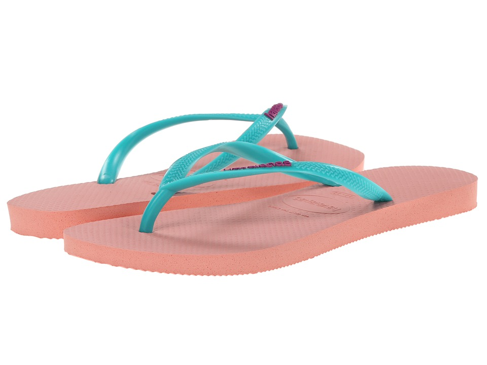 Havaianas - Slim Logo Pop-Up Flip Flops (Light Pink) Women