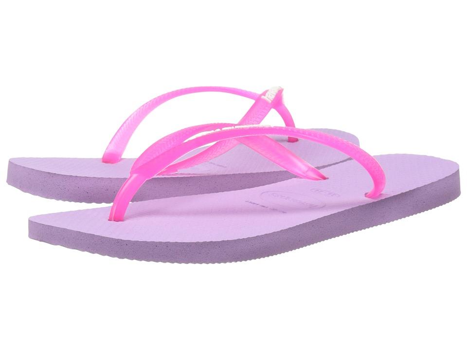 Havaianas - Slim Logo Pop-Up Flip Flops (Soft Lilac) Women's Sandals
