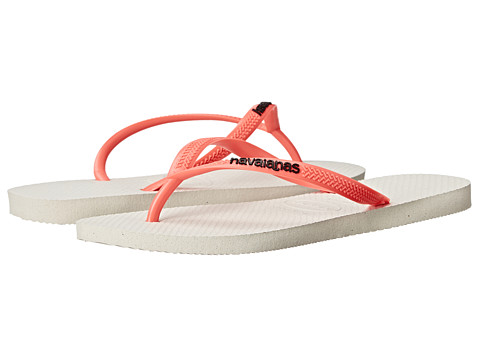 Havaianas - Slim Logo Pop-Up Flip Flops (White/Coral) Women