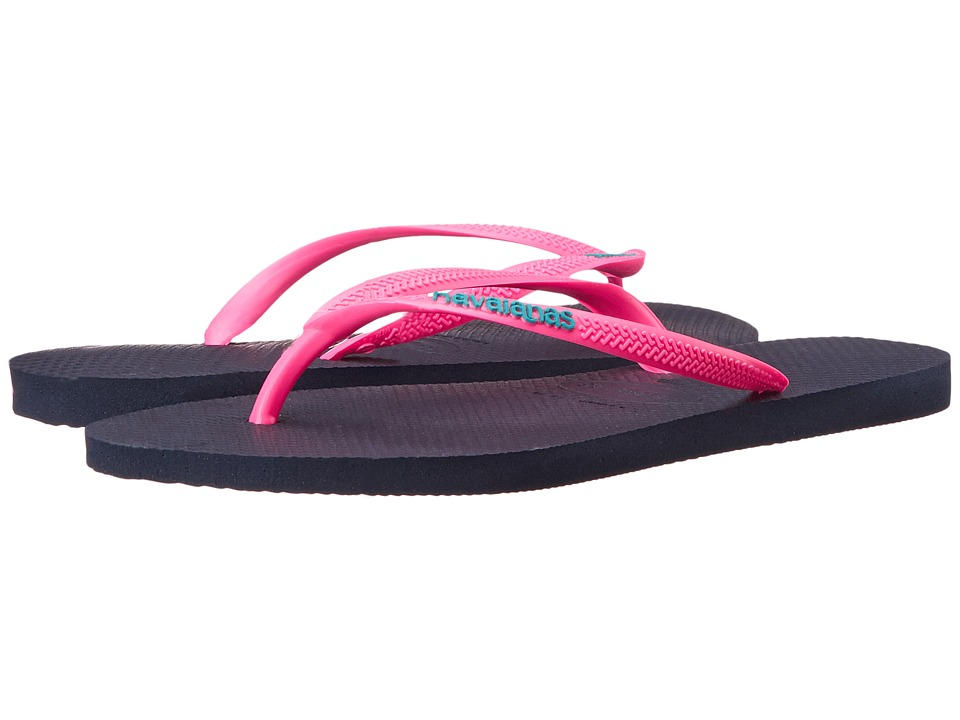 Havaianas Slim Logo Pop-Up Flip Flops (Navy Blue/Pink) Women
