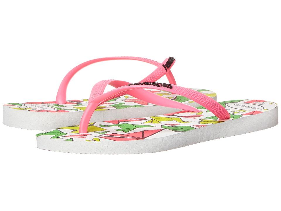 Havaianas Slim Cool Flip Flops (White/Rose) Women