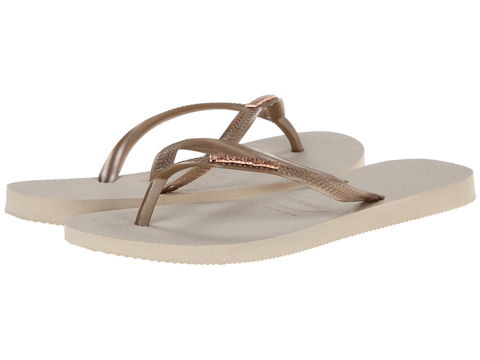 Havaianas - Slim Logo Metallic Flip Flops (Beige) Women