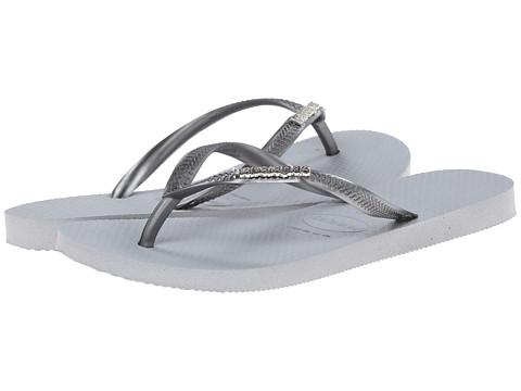 Havaianas - Slim Logo Metallic Flip Flops (Ice Grey) Women