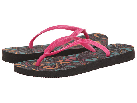 Havaianas - Slim Lace Flip Flops (Black/Pink) Women's Sandals