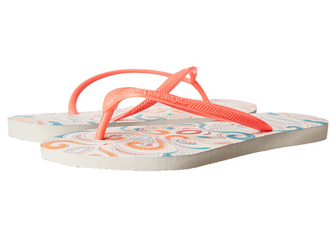 Havaianas - Slim Lace Flip Flops (White/Coral) Women's Sandals