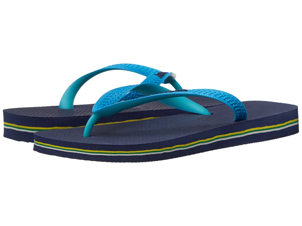 Havaianas - Brazil Mix Flip Flops (Navy Blue/Turquoise) Women's Sandals