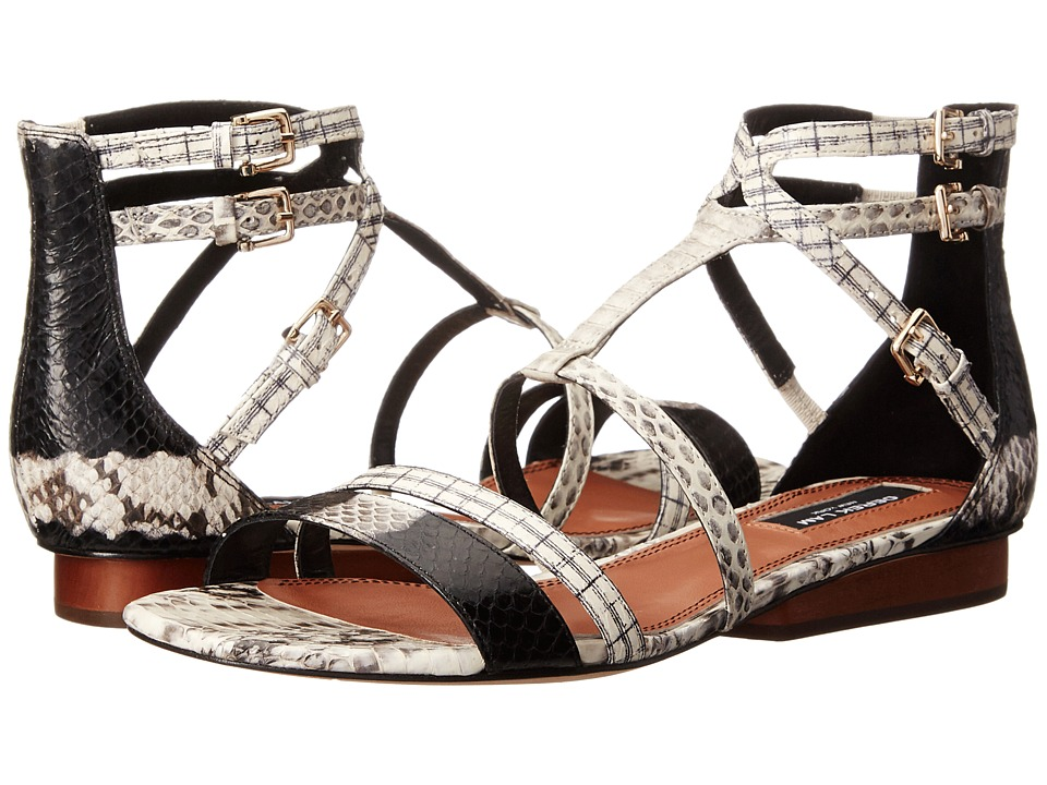 Derek Lam Edria Black-White Striped Watersnake-White Combo Snake Womens Toe Open Shoes