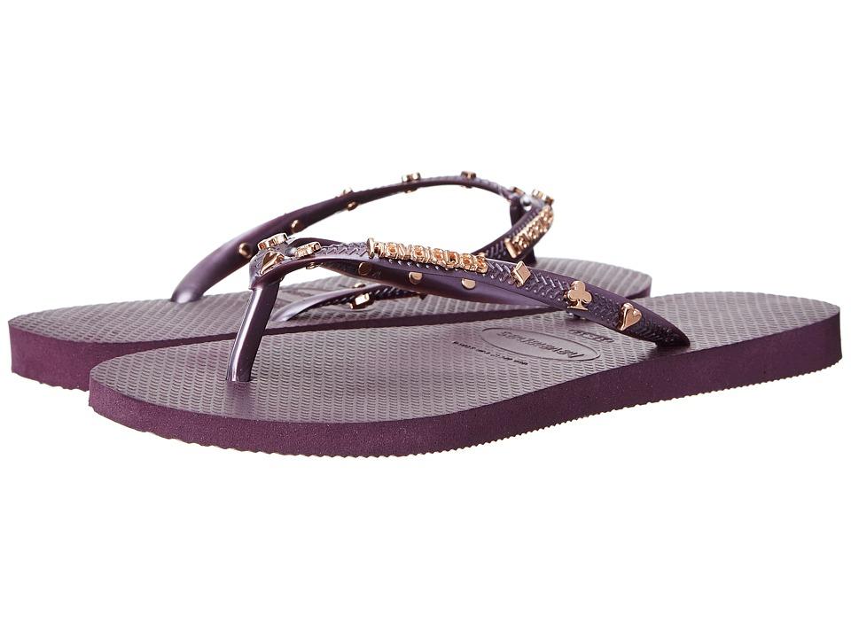 Havaianas - Slim Hardware Flip Flops (Aubergine Metallic) Women's Sandals