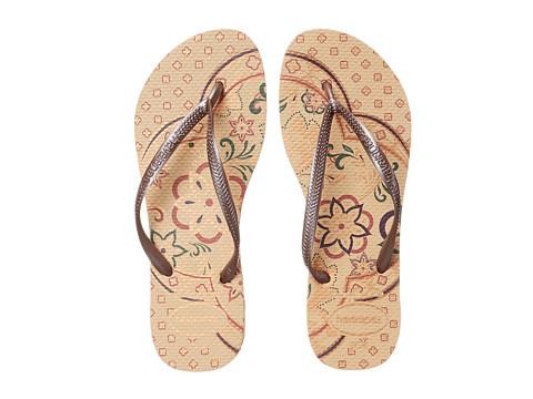 Havaianas - Slim Thematic Flip Flops (Beige) Women's Sandals