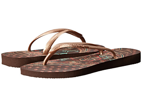 Havaianas - Slim Thematic Flip Flops (Dark Brown) Women's Sandals