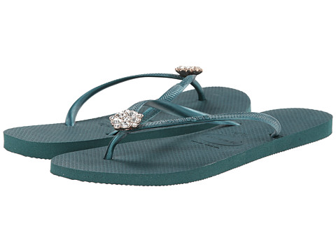 Havaianas - Slim Crystal Poem Flip Flops (Green) Women's Sandals