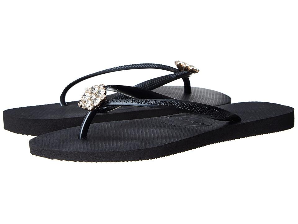 Havaianas - Slim Crystal Poem Flip Flops (Black/Dark Grey) Women's Sandals