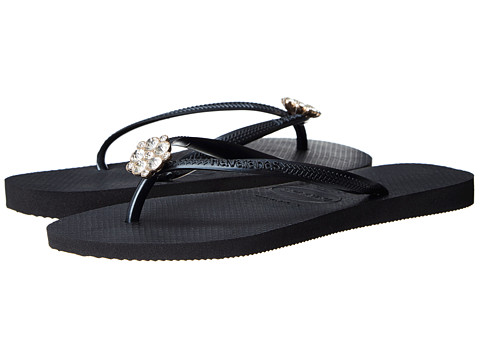 Havaianas - Slim Crystal Poem Flip Flops (Black/Dark Grey) Women's Sandals