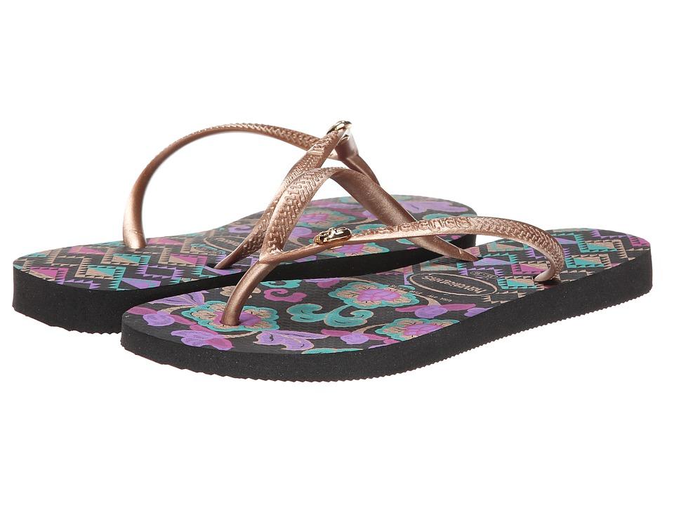 Havaianas Slim Royal Flip Flops (Black) Women