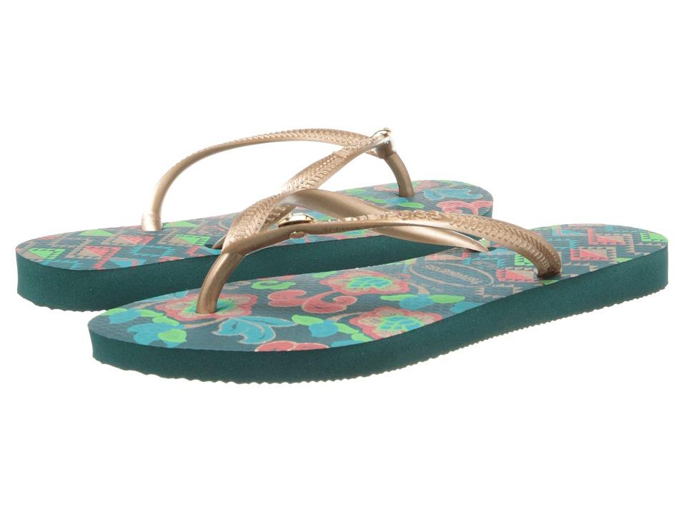 Havaianas Slim Royal Flip Flops (Green) Women