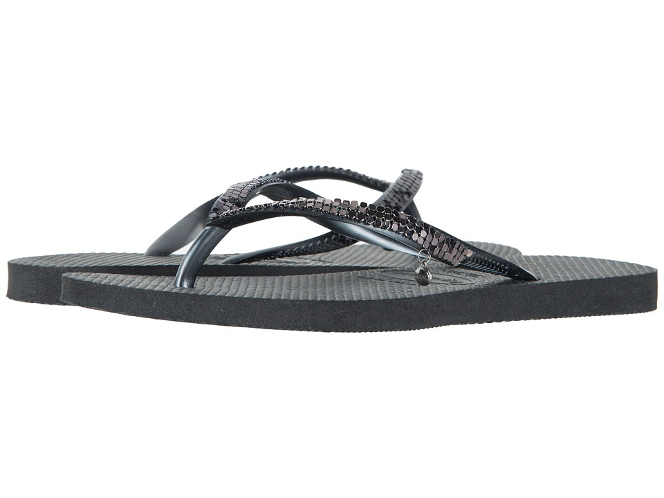 Havaianas - Slim Metal Mesh Flip Flops (Black/Dark Grey) Women's Sandals