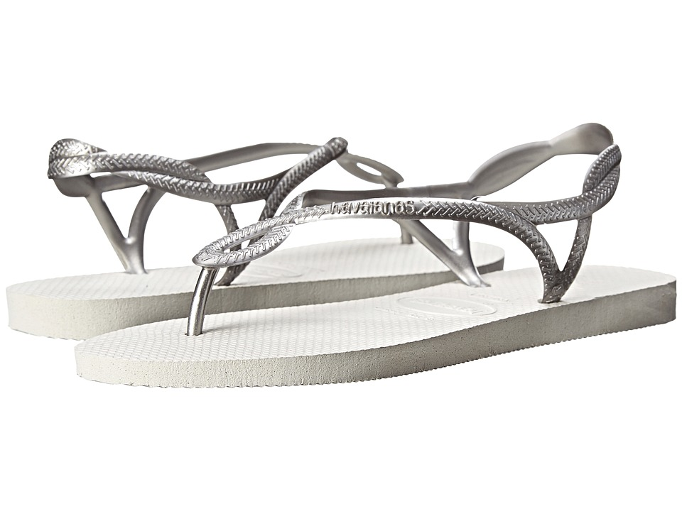 Havaianas - Luna Flip Flops (White/Silver) Women's Sandals