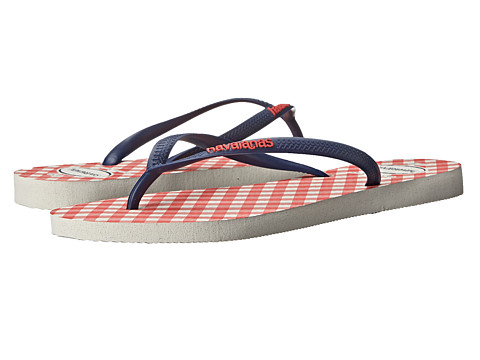 Havaianas - Slim Retro Flip Flops (White/Blue) Women