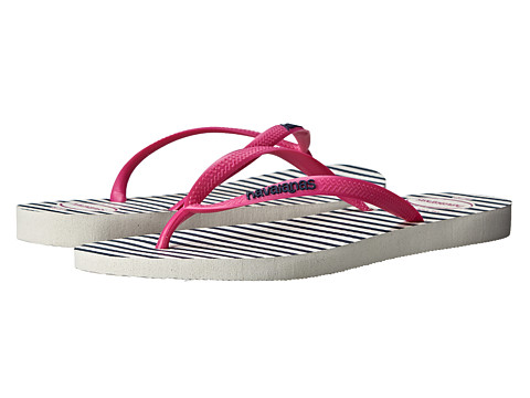 Havaianas - Slim Retro Flip Flops (White/Rose) Women's Sandals
