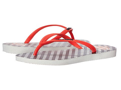 Havaianas - Slim Retro Flip Flops (White/Light Red) Women's Sandals