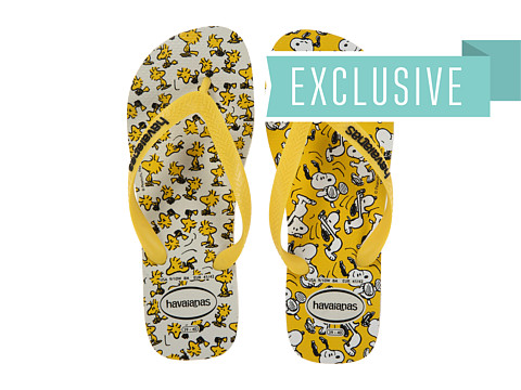 Havaianas - Snoopy Flip Flops (White/Citrus Yellow) Women's Sandals