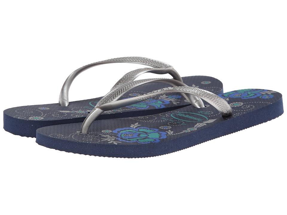 Havaianas Slim Organic Flip Flops (Navy Blue) Women