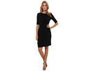 Adrianna Papell Draping Detail Jersey Dress (Black)