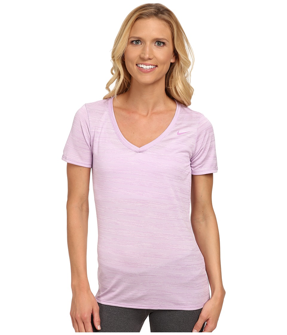 Nike - V-Neck Legend Short Sleeve Veneer Tee (Violet Shock/Violet Shock) Women's T Shirt