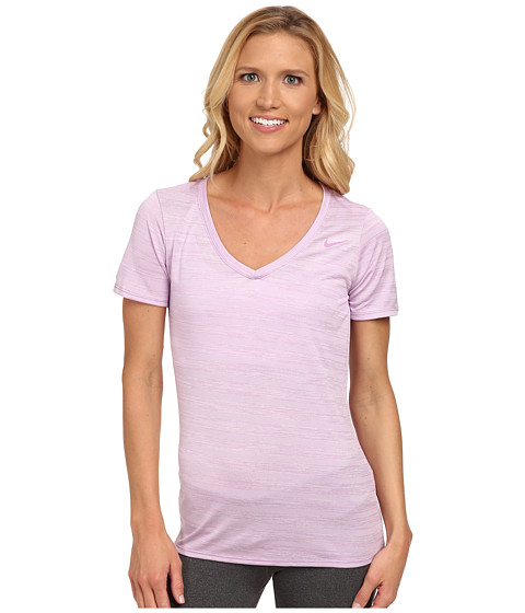Nike - V-Neck Legend Short Sleeve Veneer Tee (Violet Shock/Violet Shock) Women