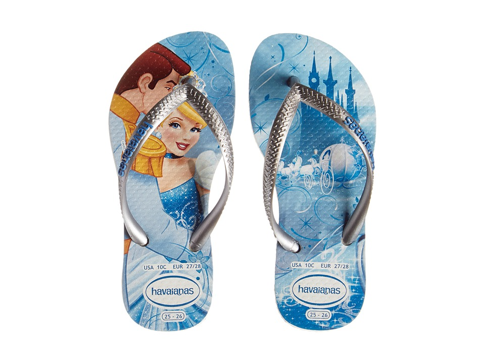 Havaianas Kids - Slim Princess Disney Flip Flops (Toddler/Little Kid/Big Kid) (White/Silver) Girl
