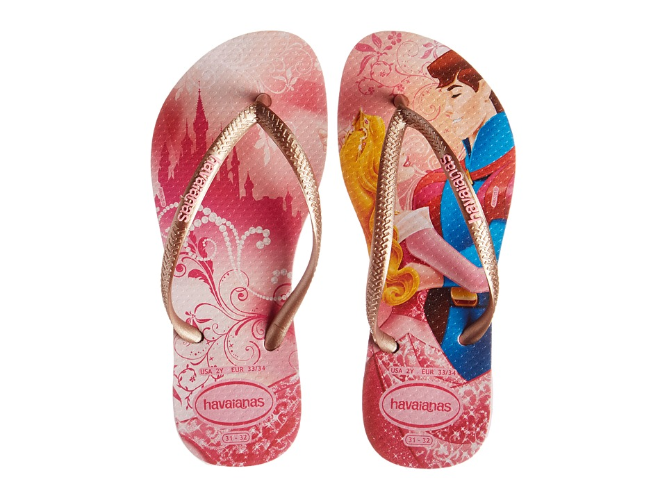 Havaianas Kids - Slim Princess Disney Flip Flops (Toddler/Little Kid/Big Kid) (Pink/Rose Gold) Girl