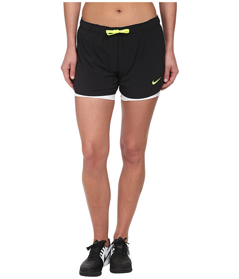 Nike - Just Kickin' It 2-n-1 Short (Black/White/Volt/Volt) Women's Shorts