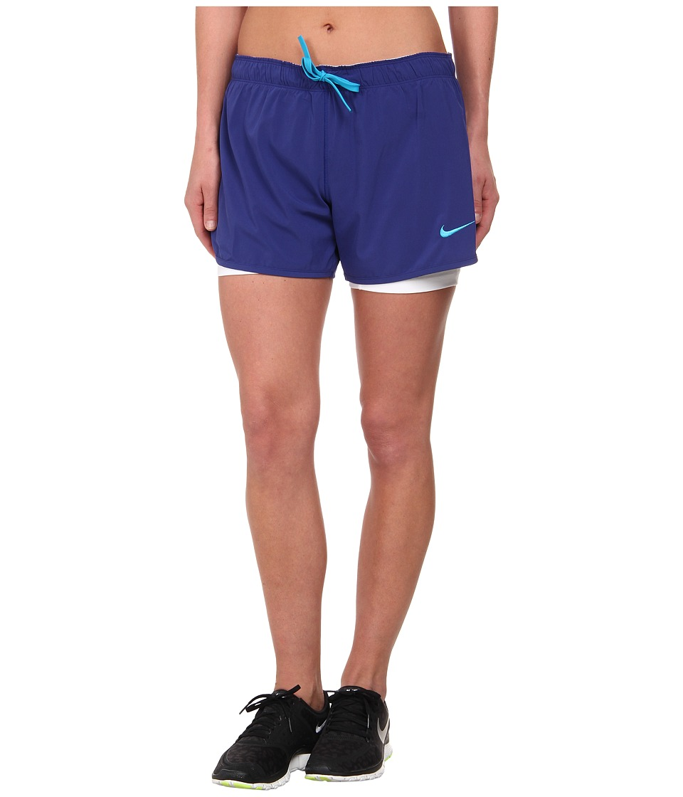 Nike - Just Kickin' It 2-n-1 Short (Deep Royal Blue/White/Blue Lagoon/Blue Lagoon) Women's Shorts