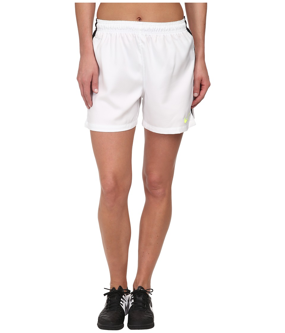 Nike - Dri-FIT Squad Woven Short (White/Black/Volt) Women's Shorts